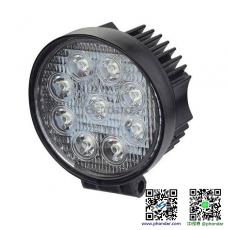 LED工作燈/探照燈27W 12-24V(圓型) 適用: 船舶照明/霧燈/照明燈/探照燈/投射燈/大貨車/堆高機