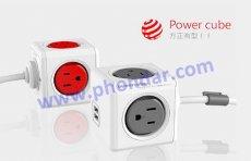 PowerCube魔術方塊延長線(紅)3孔+5插座+1.5米
